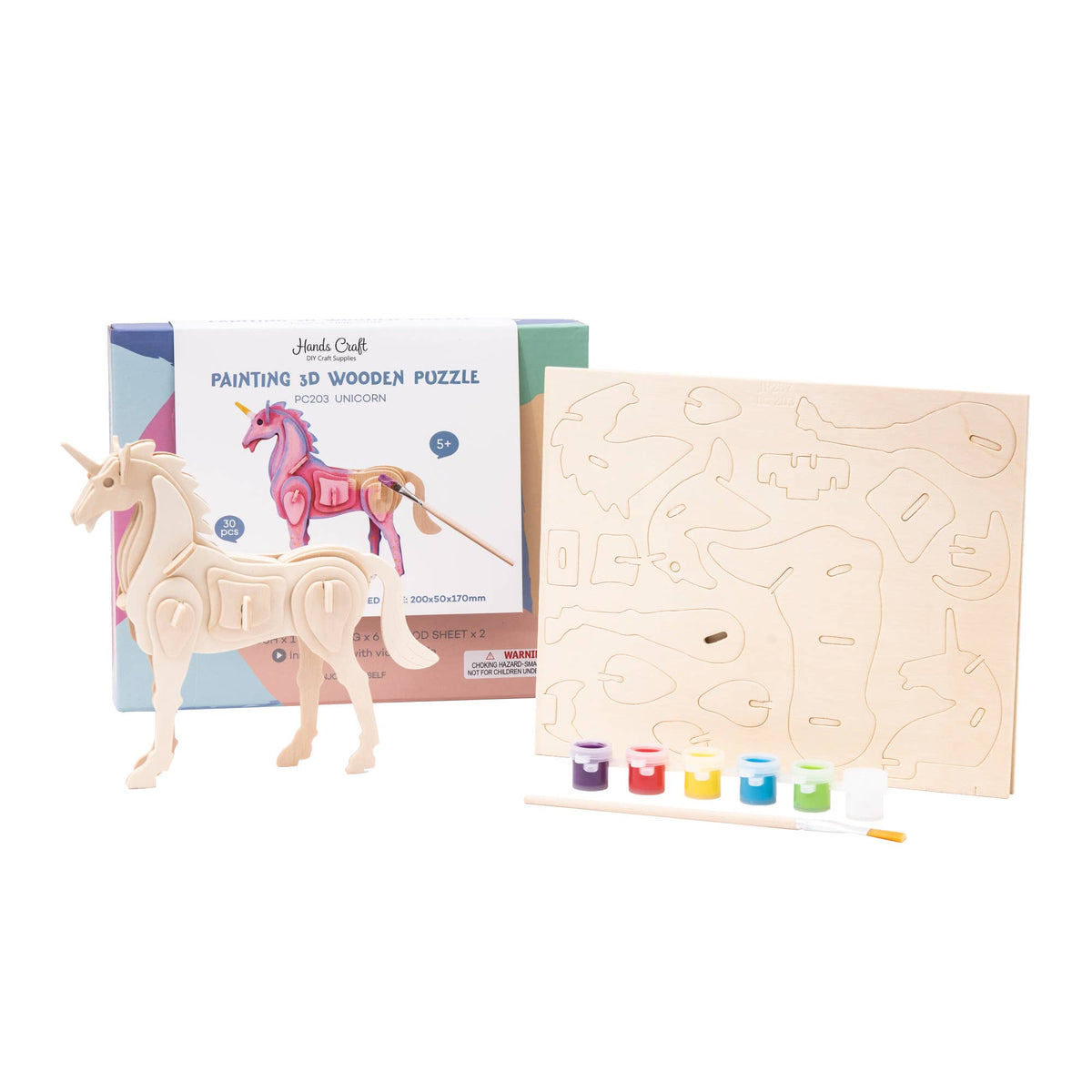 HC203, 3D Wooden Puzzle Paint Kit: Unicorn