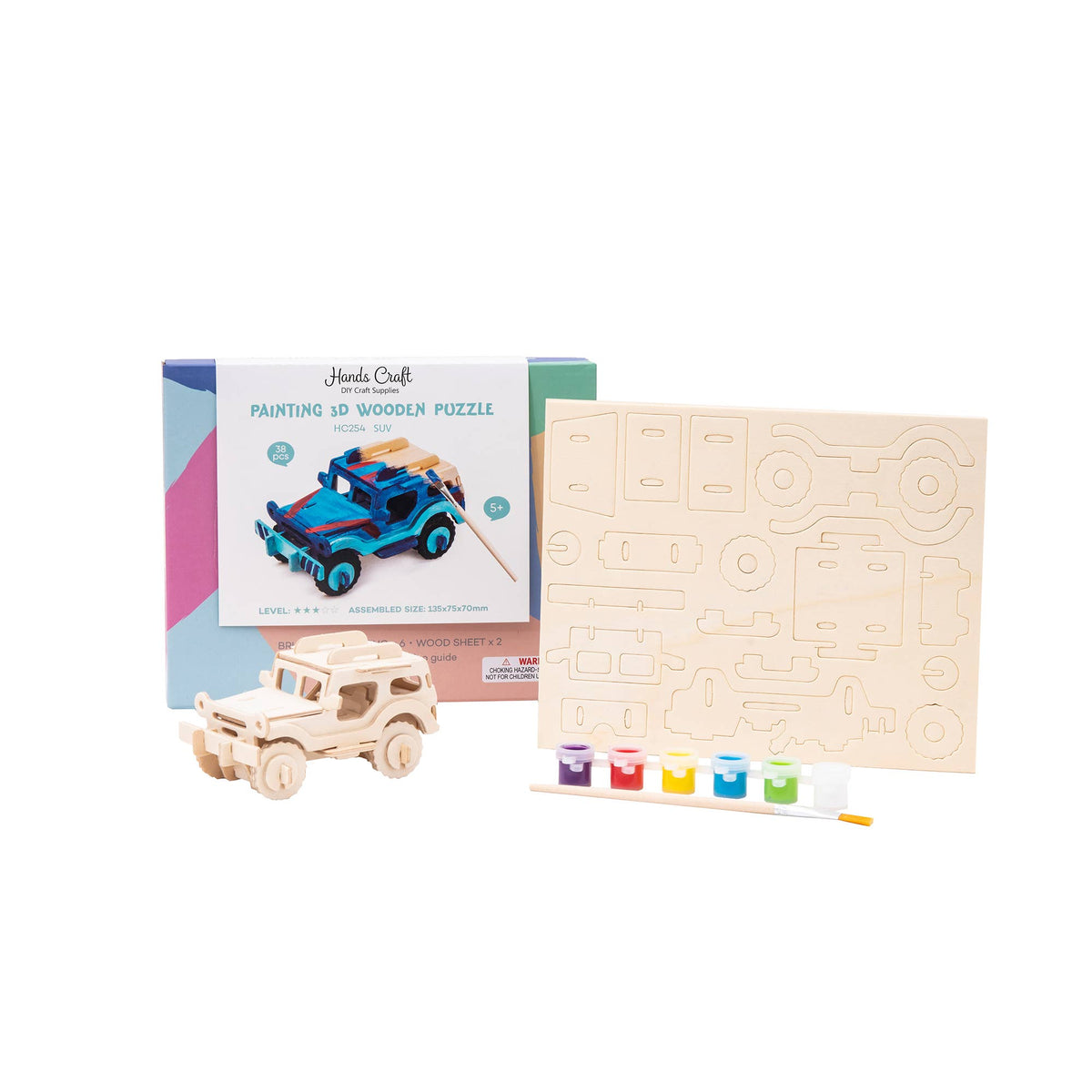 HC254, 3D Wooden Puzzle Paint Kit: SUV