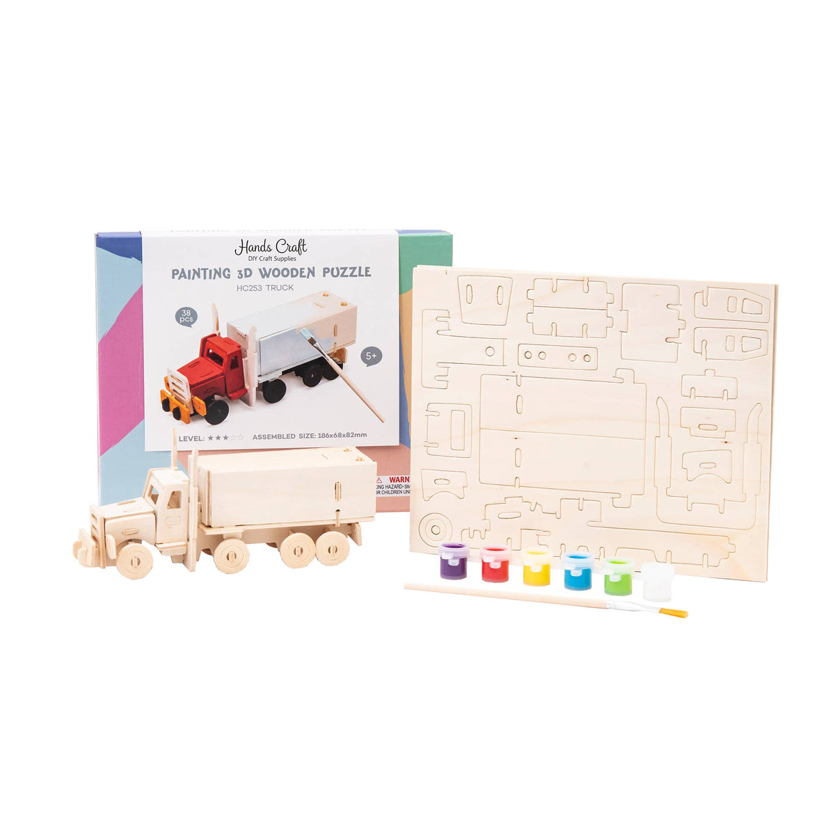 HC253, 3D Wooden Puzzle Paint Kit: Truck