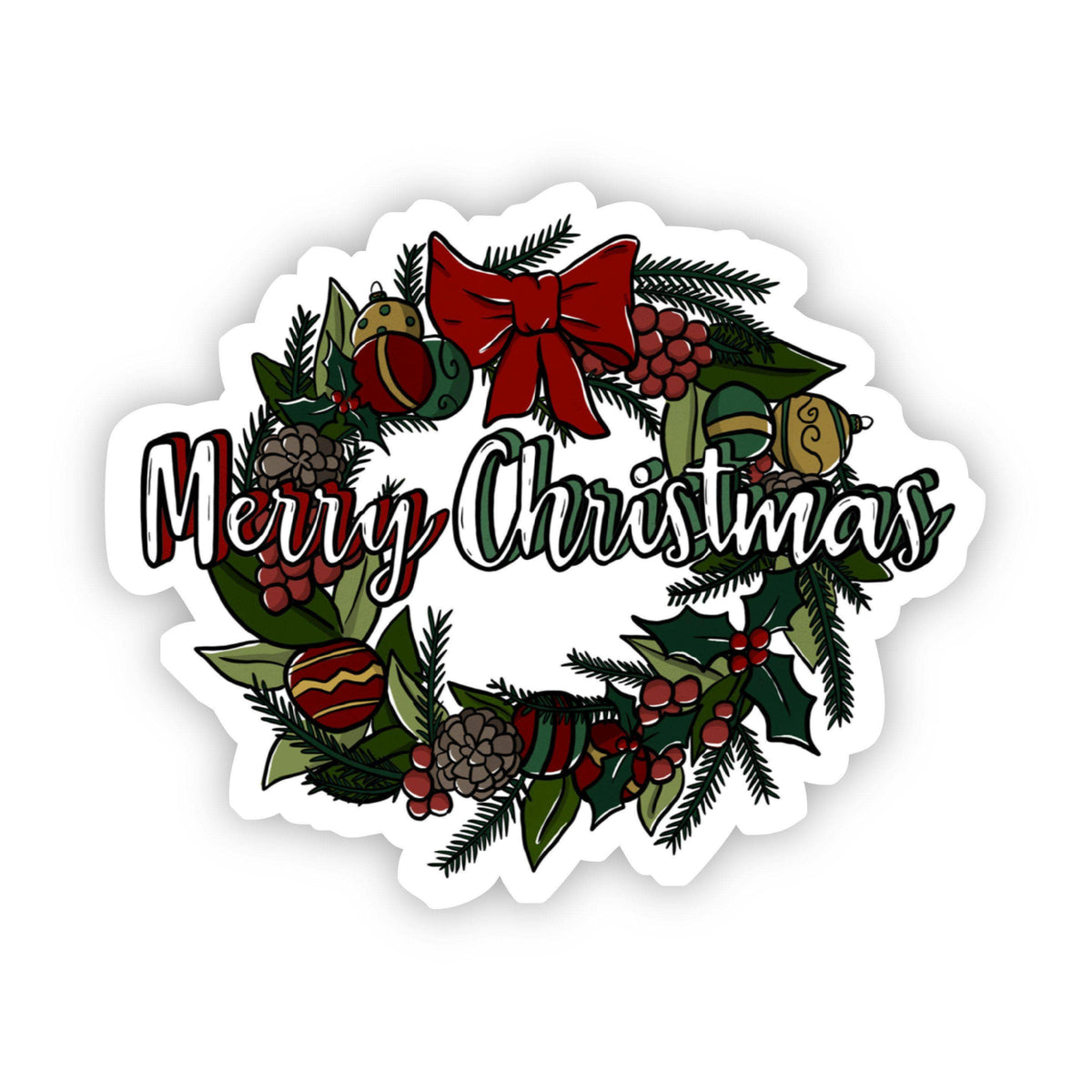Merry Christmas Wreath Sticker