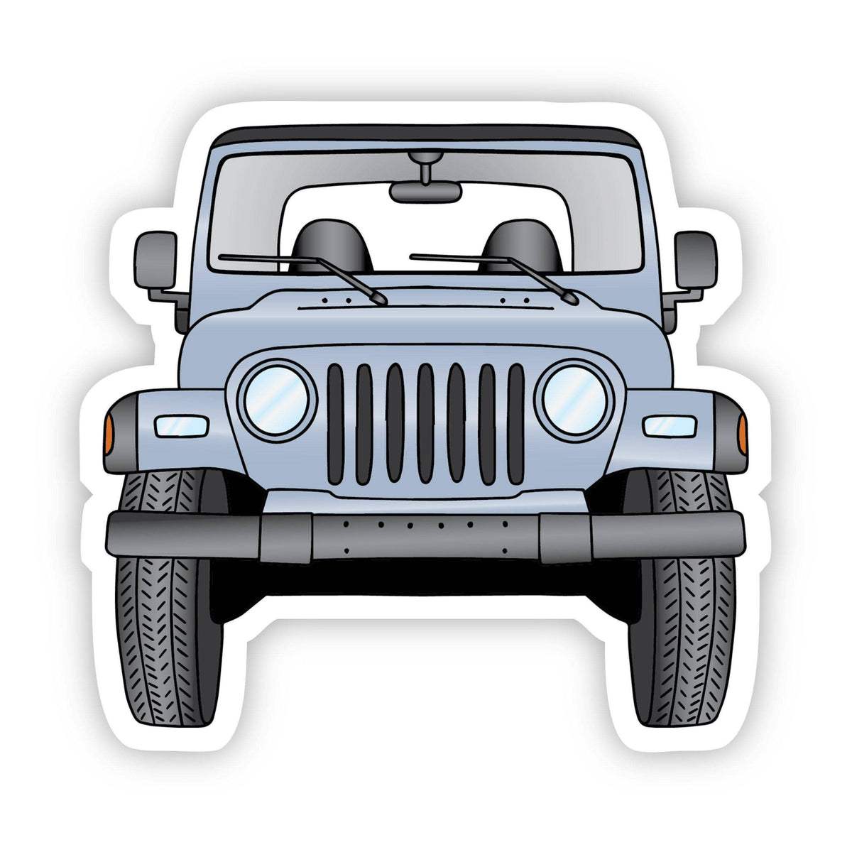 Grey Jeep Front Aesthetic Sticker