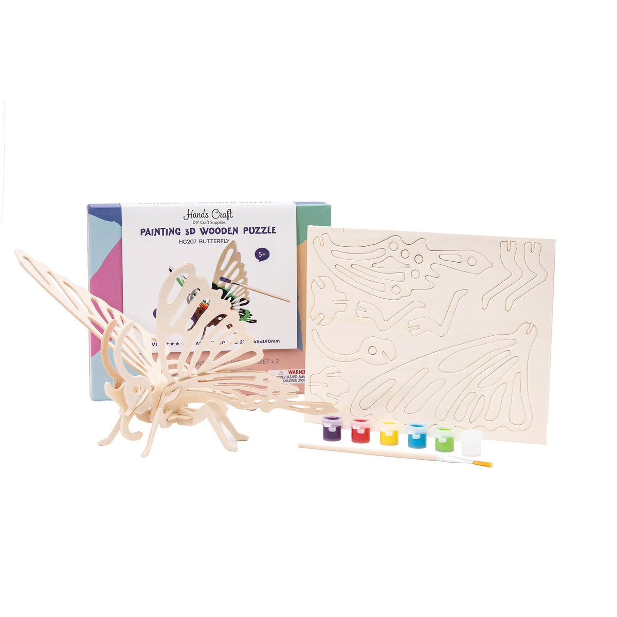 HC207, 3D Wooden Puzzle with Paint Kit: Butterfly
