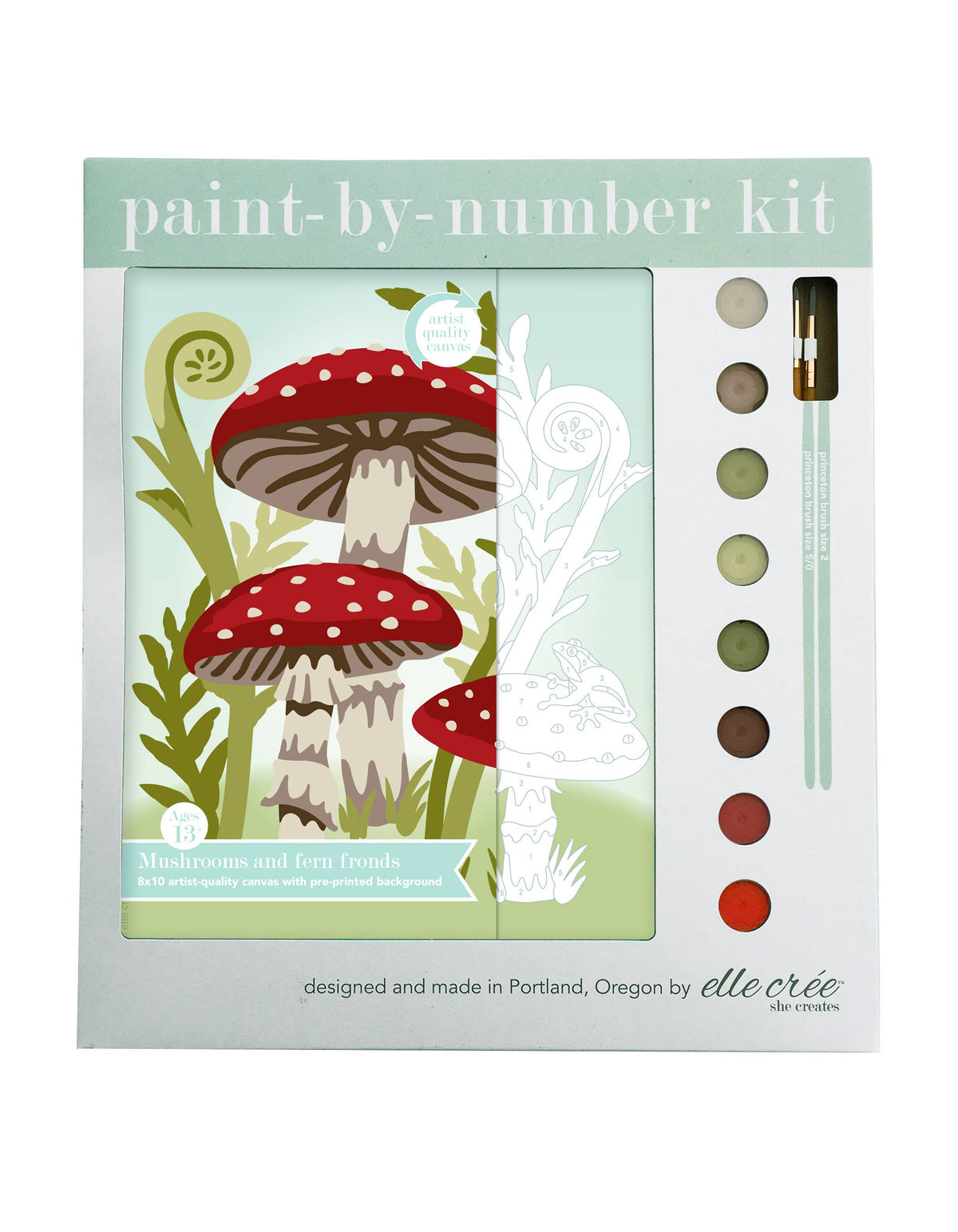 Mushrooms and Fern Fronds Paint-by-Number Kit
