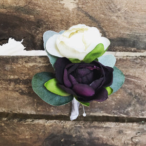 Ivory and Plum Boutonniere