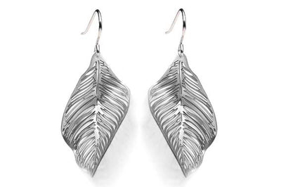 Forest Floor Leaf Earrings Grey
