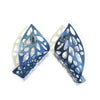 Curled Leaf Skeleton Stud Earrings - Blue