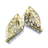 Curled Leaf Skeleton Stud Earrings - Gold