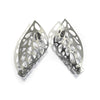 Curled Leaf Skeleton Stud Earrings - Grey