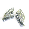 Curled Leaf Skeleton Stud Earrings - Mint