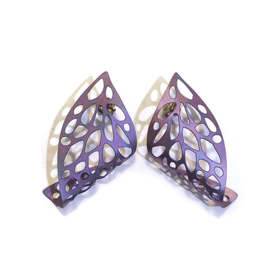 Curled Leaf Skeleton Stud Earrings - Violet