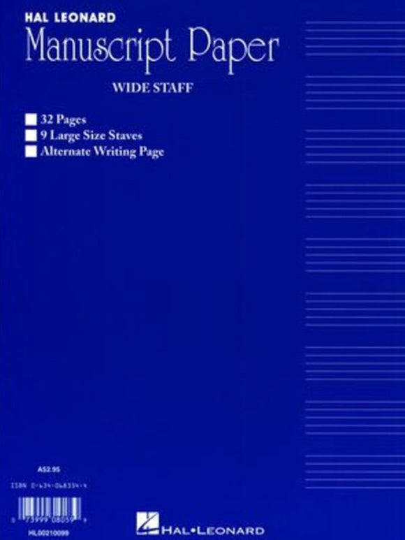 Wide Staff Manuscript 32 Page (Blue) 9 Staves/Interleaved