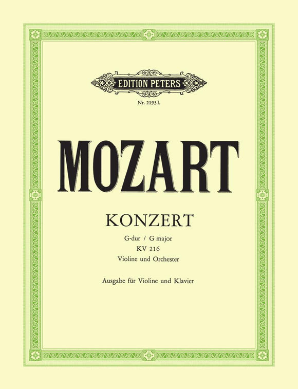 Mozart: Concerto No. 3 in G K. 216 for Violin & Piano