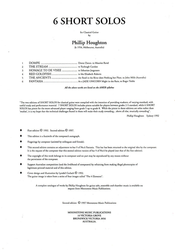 Houghton: 6 Short Solos for Classical Guitar