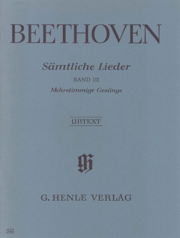 Beethoven: Complete Songs for Voice & Piano Volume 3
