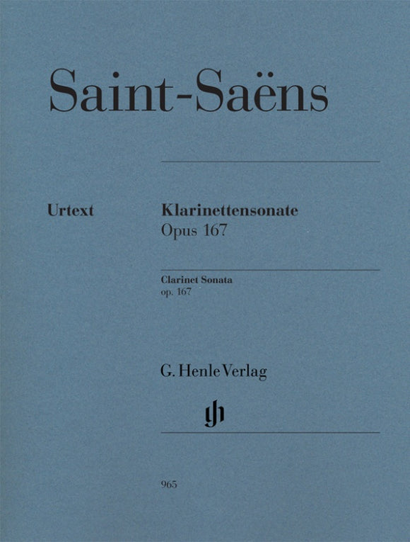 Saint-Saëns: Clarinet Sonata Op 167 for Clarinet & Piano