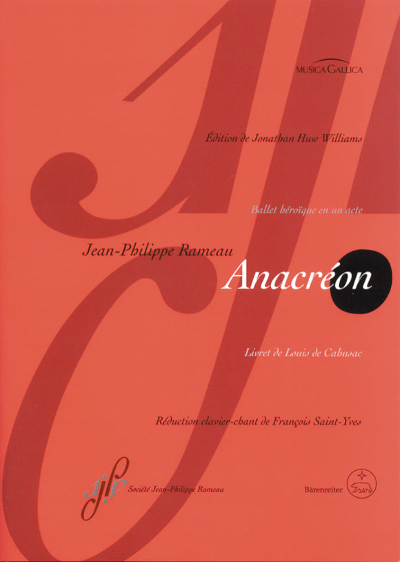 Rameau: Anacreon Opera - Vocal Score