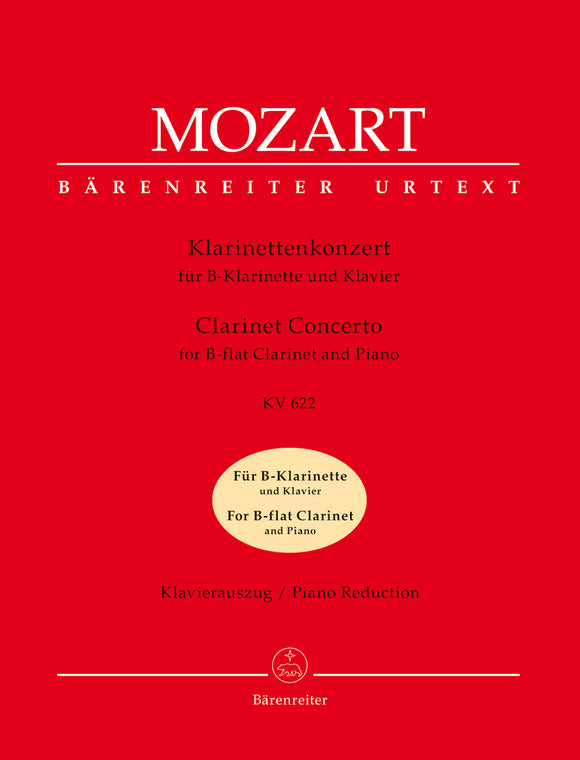 Mozart: Clarinet Concerto K622 - Version for Bb Clarinet & Piano
