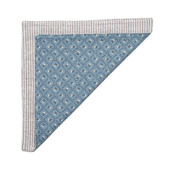 The Essential Pocket Square - Khaki/White Stripe Chambray