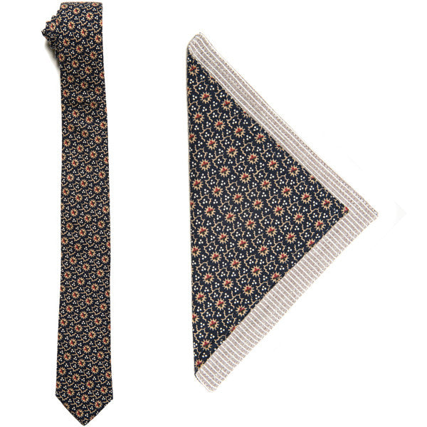 The Essential Tie + Pocket Square Set - Japanese Floral Dot