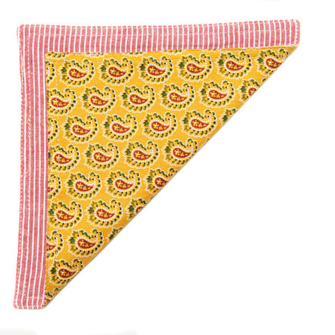 The Essential Pocket Square - Yellow Paisley