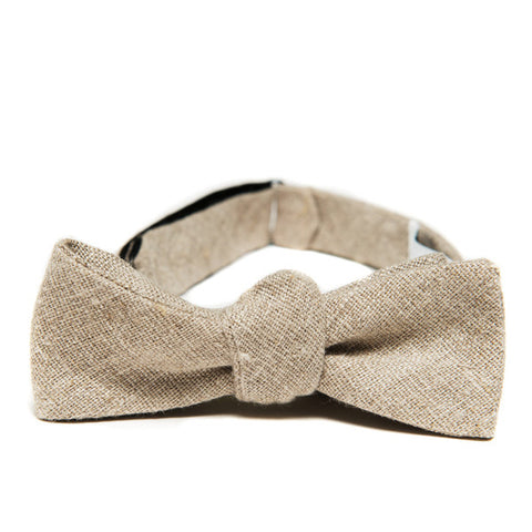 The Essential Bow Tie - Khaki Japanese Linen