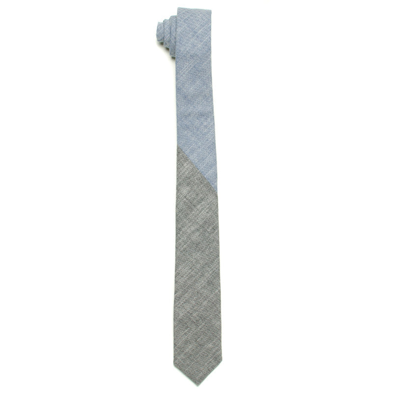 The Essential Tie - Blue/Black Duo Chambray