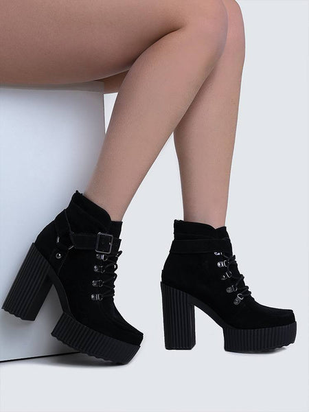 TUK A8994L Black Lace Up Harness Booties