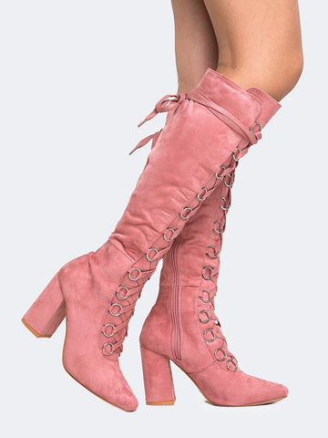 Lace Up Knee High Boot