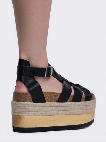 Jeffrey Campbell Mantova Black Leather Platform Sandals