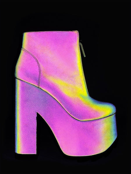 YRU NIGHTMARE Reflective Holographic Bootie