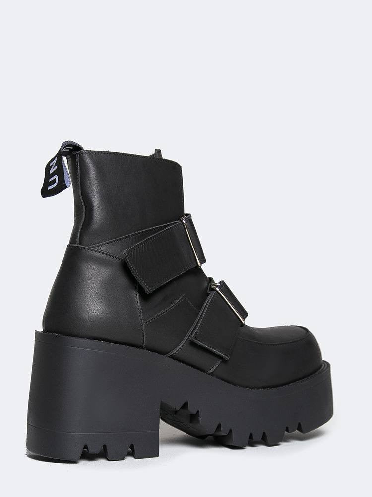 8303f418c6f UNIF Synapse Booties Black Leather Platform Boots