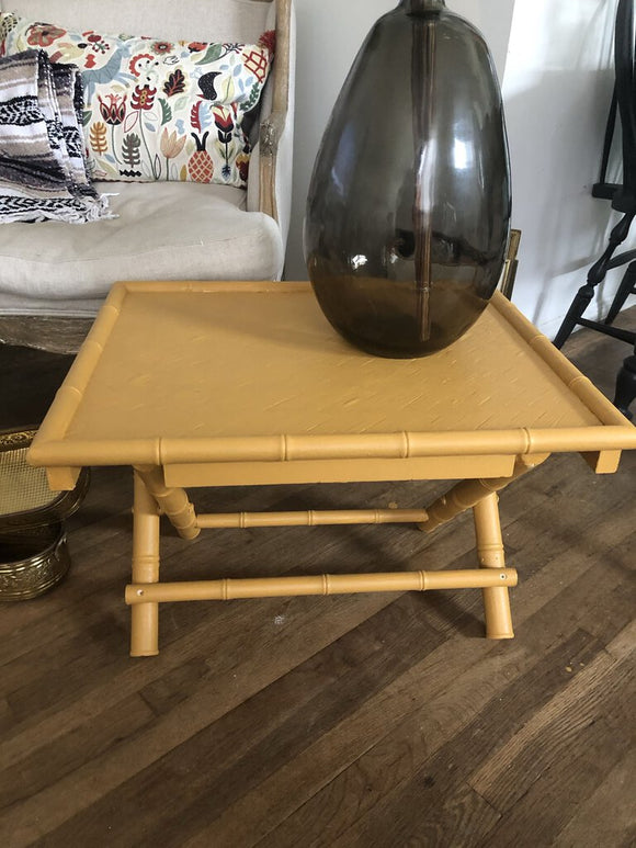 Vintage Bamboo Look Mustard Folding Table 14