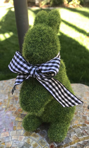 "Small Moss Bunny w/Black Gingham Bow, 7""h"