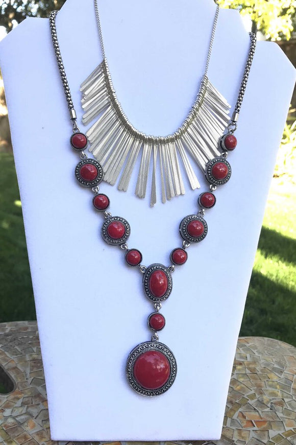 12845 Silver/Red Stone Necklace