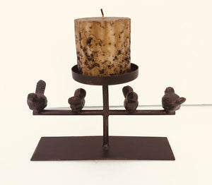 """Birds on a Wire"" Metal Candle Holder, 8.5w x 5h"