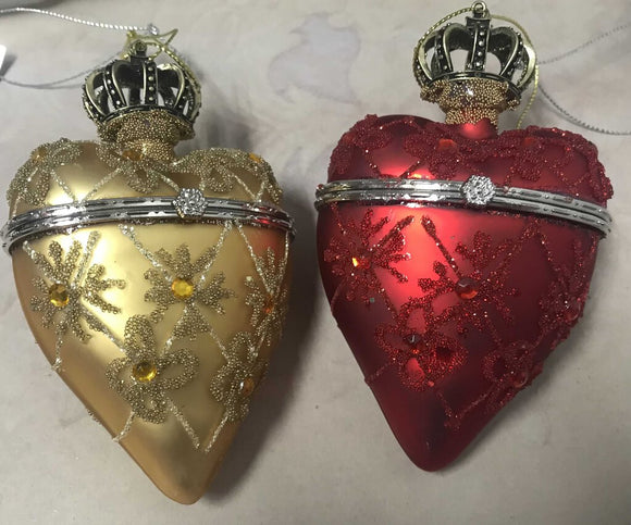 13769 Hinged Crown Heart Box, Glass, Red or Gold