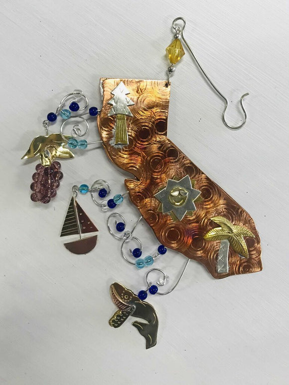 13961 California Ornament-Handmade Mixed Metal, beads, 5h x 5w
