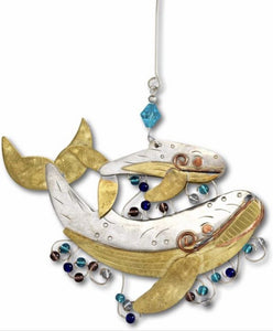 14251 Momma & Baby Whale Ornament, Handmade, Mixed Metals, Beads, 5w x 4.5h