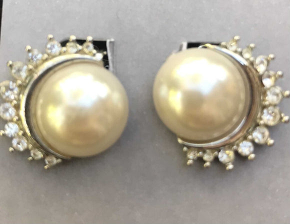 Pearl/Rhinestone CLIP earrings