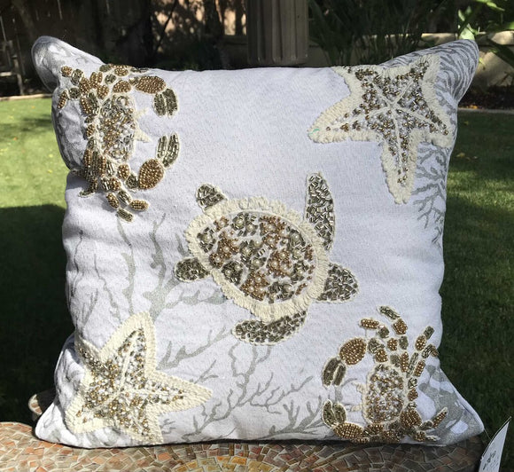 Beaded Sea Life Pillow, White, Cream, Grey, Gold 15