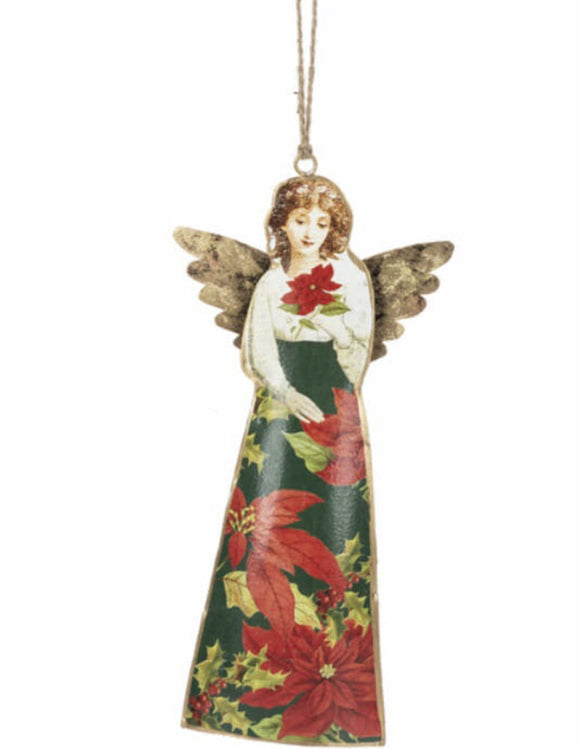 14268 Painted Angel Ornament, Metal-4.25 x 9.5