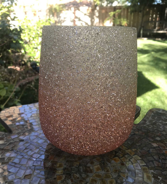 Large Blush Beaded Votive Holder