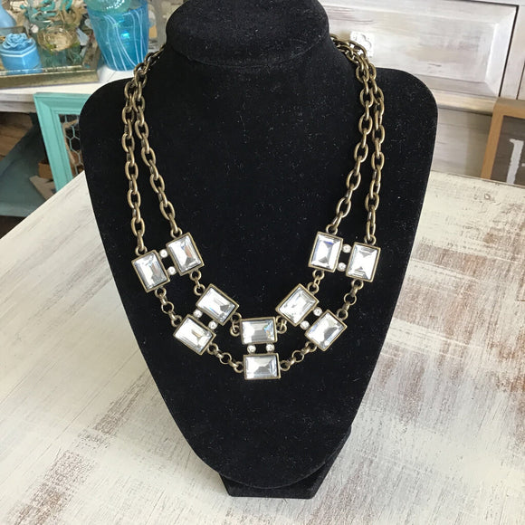 12641 Ant Br/Crys Double Necklace