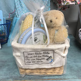 6531 Baby Basket-Hand Print Kit, Bear, Blanket Square, Corn Rattle