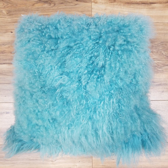 Sheepskin Pillow, Aquamarine-22""
