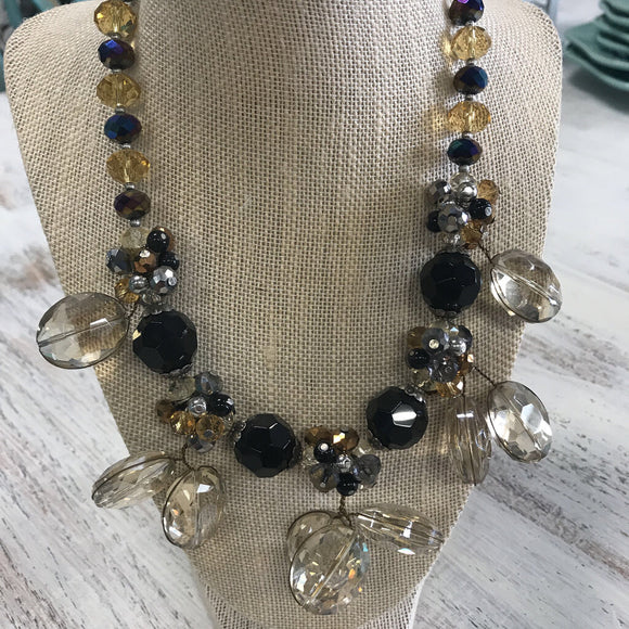 12293 Black Onyx/Gold Crystal Necklace