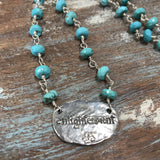 "100 Sterling silver and faceted turquoise necklace with sterling silver lotus flower pendant. 17.25"" with lobster clasp and 1.5"" extension"