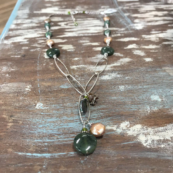 129 Sterling silver wire wrapped green/copper freshwater pearl and gemstone necklace.17.5