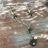 "129 Sterling silver wire wrapped green/copper freshwater pearl and gemstone necklace.17.5"" with lobster clasp and 1.5"" extension"