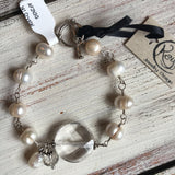 "141 Sterling silver, crystal quarts and freshwater pearl bracelet. 7"" with toggle closure"